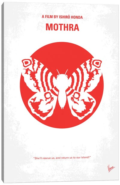 Mothra Minimal Movie Poster Canvas Art Print
