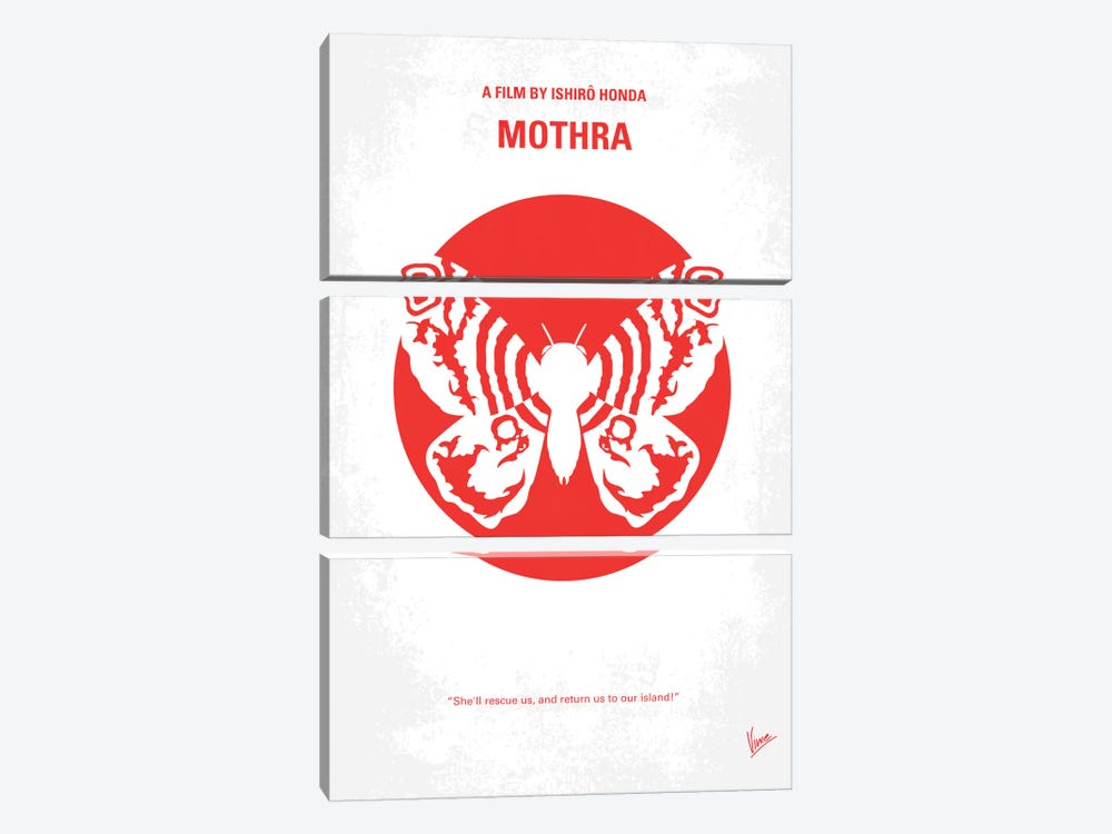 Mothra Minimal Movie Poster by Chungkong 3-piece Canvas Print