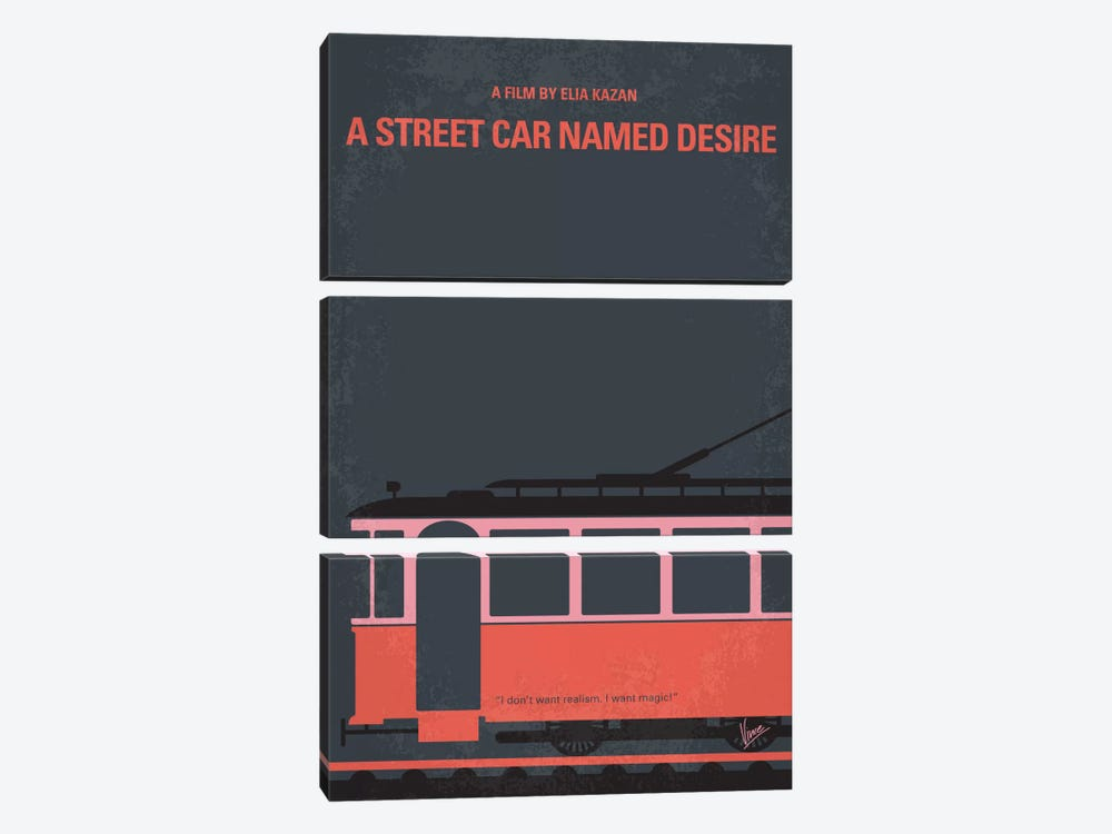 A Street Car Named Desire Minimal Movie Poster by Chungkong 3-piece Canvas Art Print