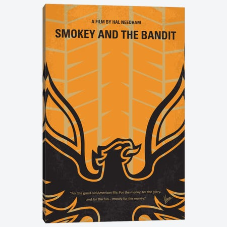 Smokey And The Bandit Minimal Movie Poster Canvas Print #CKG406} by Chungkong Canvas Wall Art