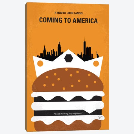 Coming To America Minimal Movie Poster Canvas Print #CKG410} by Chungkong Canvas Wall Art