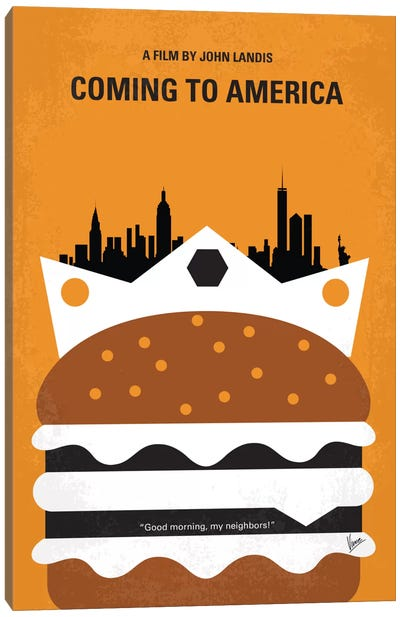 Coming To America Minimal Movie Poster Canvas Art Print