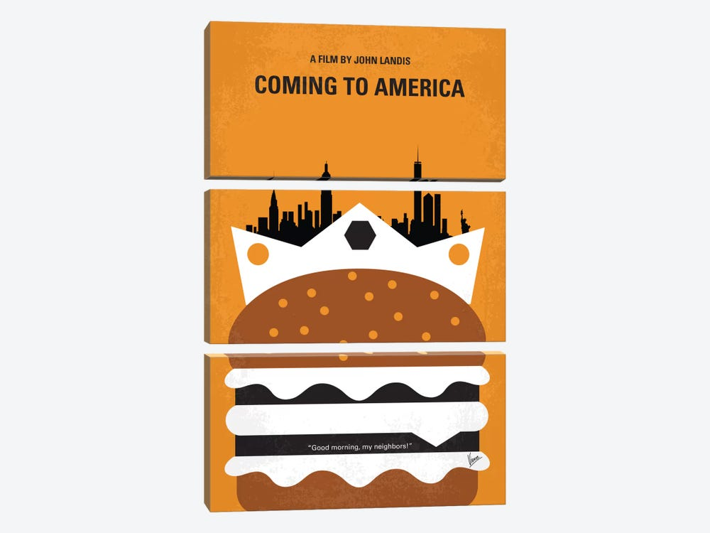 Coming To America Minimal Movie Poster by Chungkong 3-piece Canvas Art Print