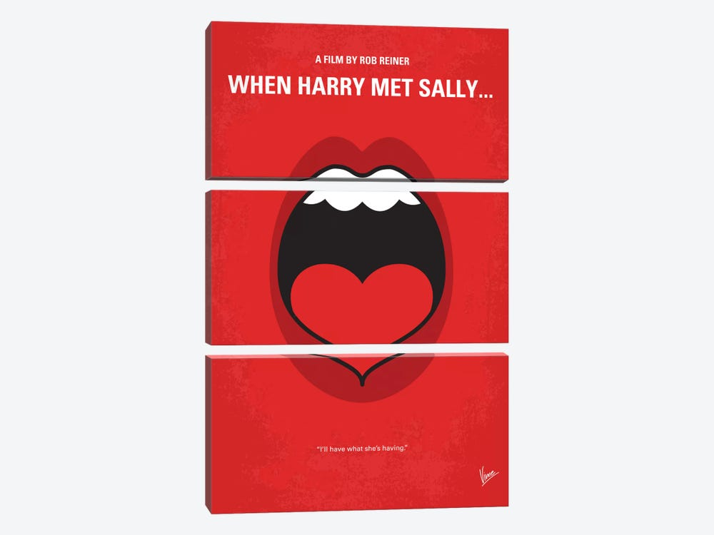 When Harry Met Sally Minimal Movie Poster by Chungkong 3-piece Canvas Wall Art