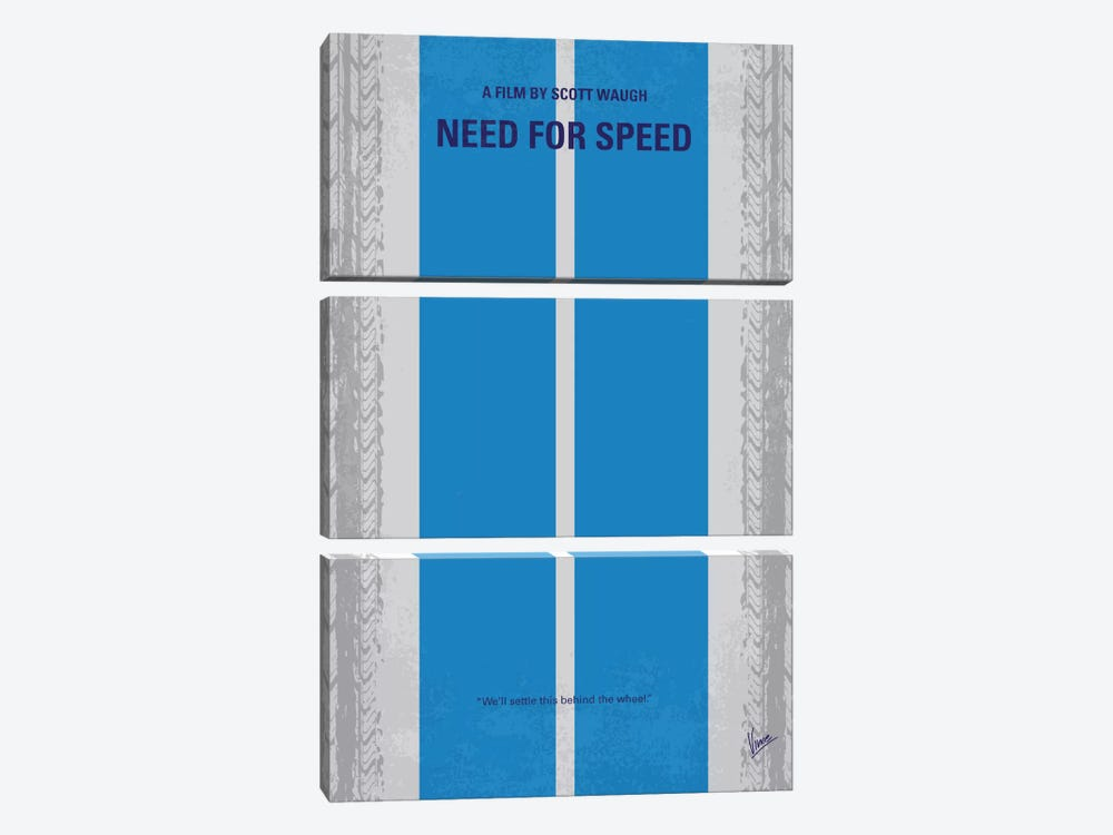 Need For Speed Minimal Movie Poster by Chungkong 3-piece Canvas Art