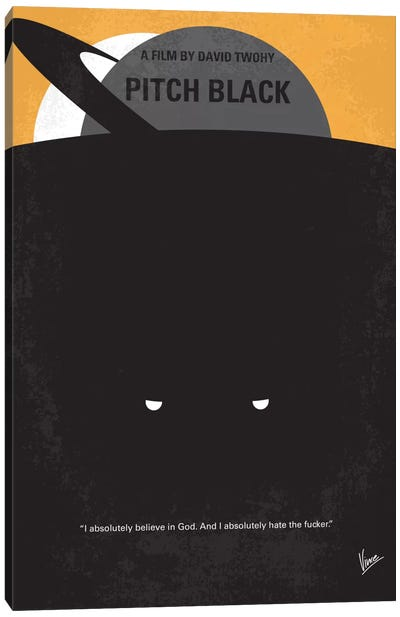 Pitch Black Minimal Movie Poster Canvas Print #CKG417