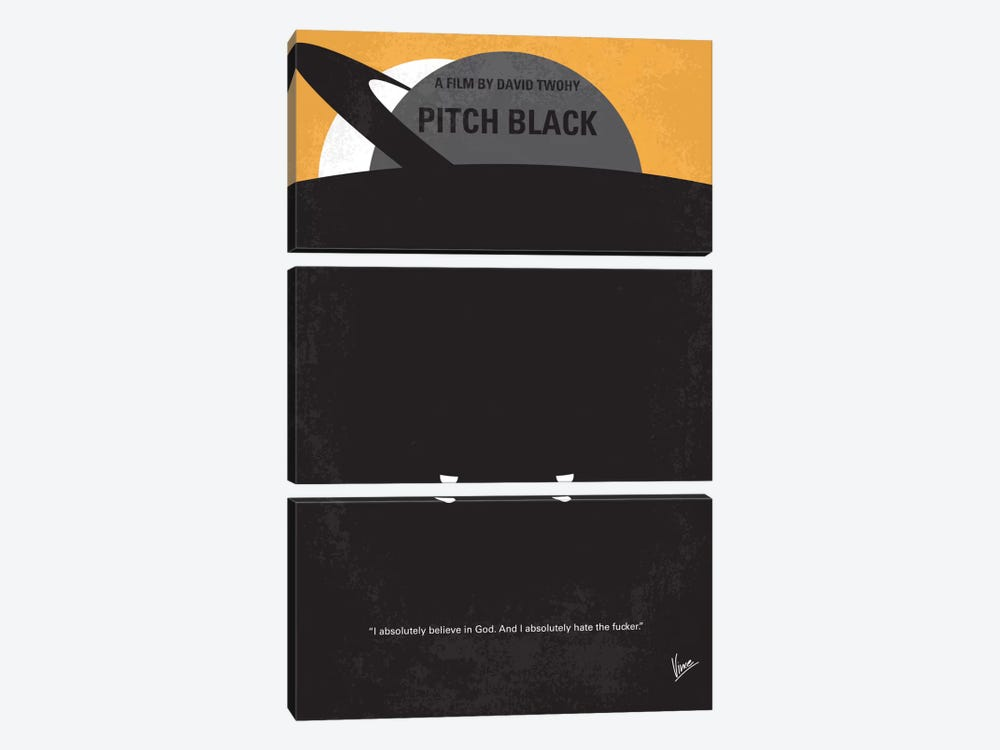 Pitch Black Minimal Movie Poster by Chungkong 3-piece Canvas Artwork