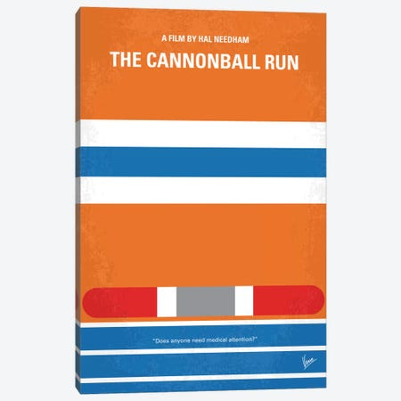 The Cannonball Run Minimal Movie Poster Canvas Print #CKG419} by Chungkong Canvas Art