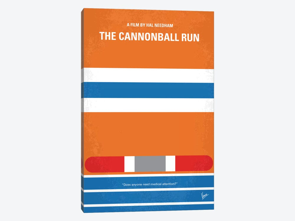 The Cannonball Run Minimal Movie Poster by Chungkong 1-piece Canvas Artwork