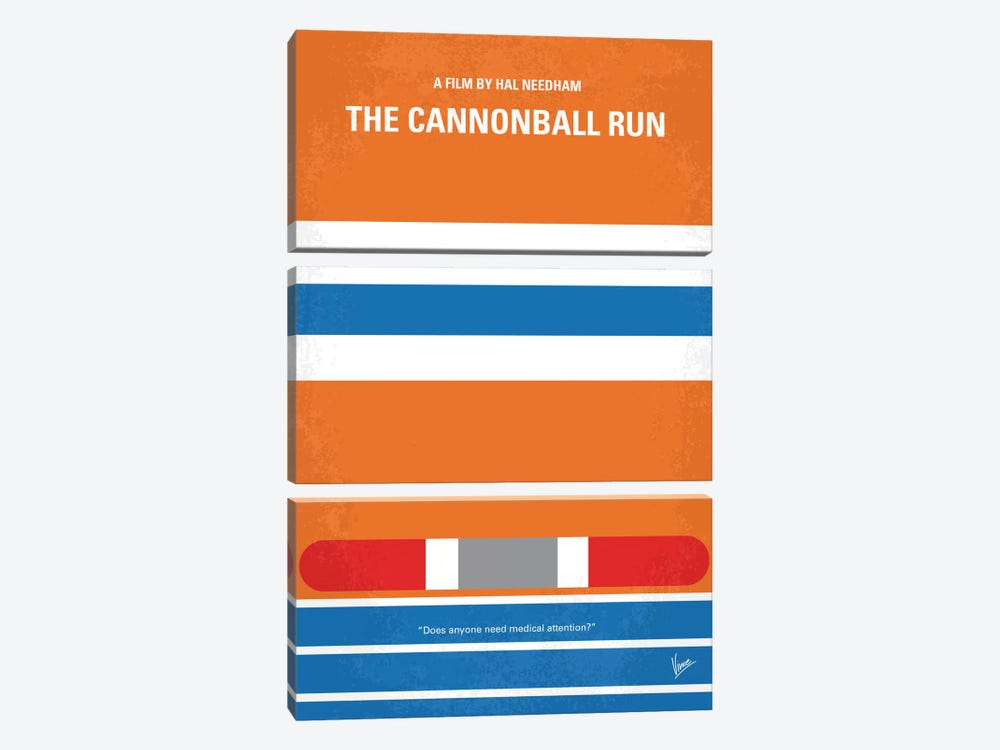 The Cannonball Run Minimal Movie Poster by Chungkong 3-piece Canvas Artwork