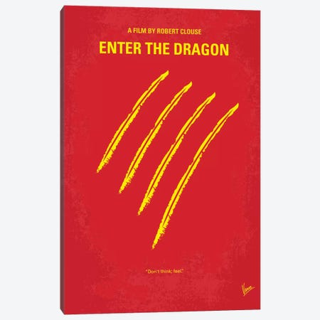 Enter The Dragon Minimal Movie Poster Canvas Print #CKG41} by Chungkong Canvas Print