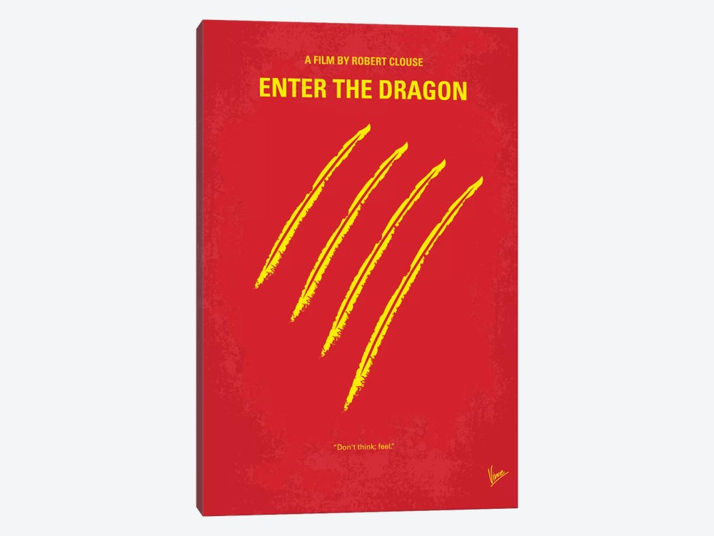 Enter The Dragon Minimal Movie Poster by Chungkong 1-piece Canvas Art