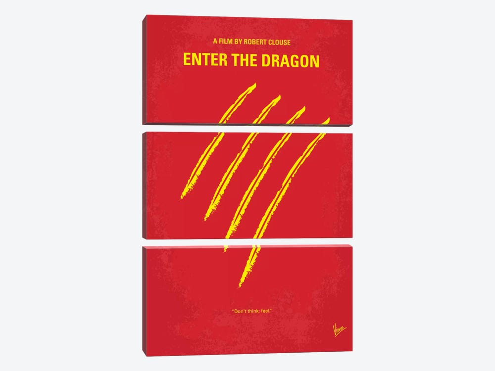 Enter The Dragon Minimal Movie Poster by Chungkong 3-piece Canvas Artwork