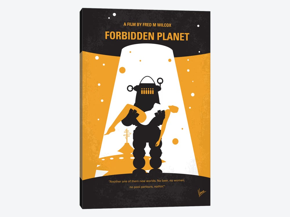 Forbidden Planet Minimal Movie Poster by Chungkong 1-piece Canvas Print
