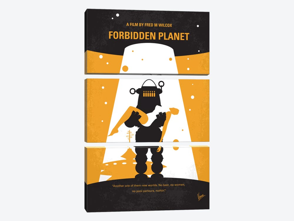 Forbidden Planet Minimal Movie Poster by Chungkong 3-piece Canvas Print