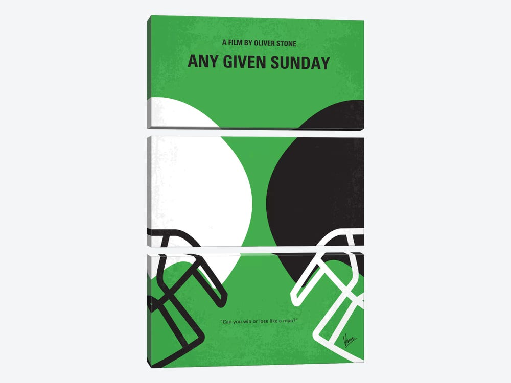 Any Given Sunday Minimal Movie Poster by Chungkong 3-piece Canvas Art