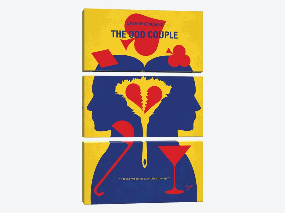 The Odd Couple Minimal Movie Poster by Chungkong 3-piece Canvas Art Print