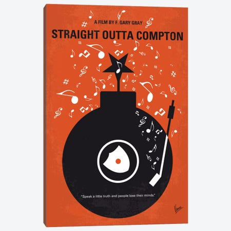 Straight Outta Compton Minimal Movie Poster Canvas Print #CKG430} by Chungkong Canvas Artwork