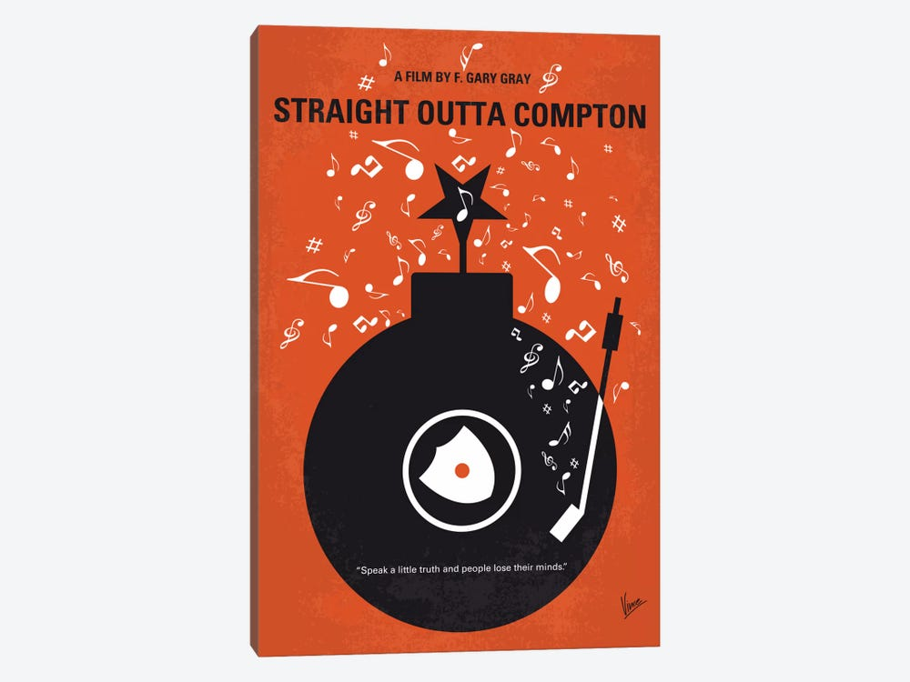 Straight Outta Compton Minimal Movie Poster by Chungkong 1-piece Canvas Print