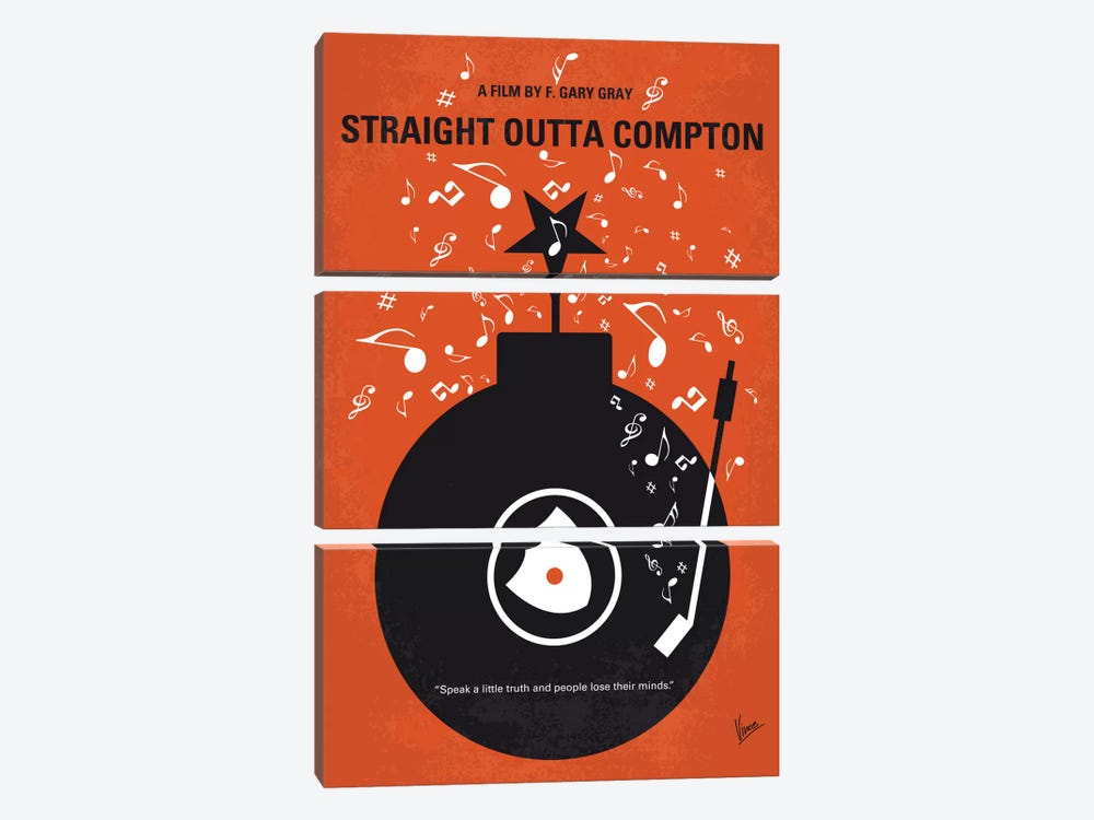 Straight Outta Compton Minimal Movie Poster by Chungkong 3-piece Canvas Print