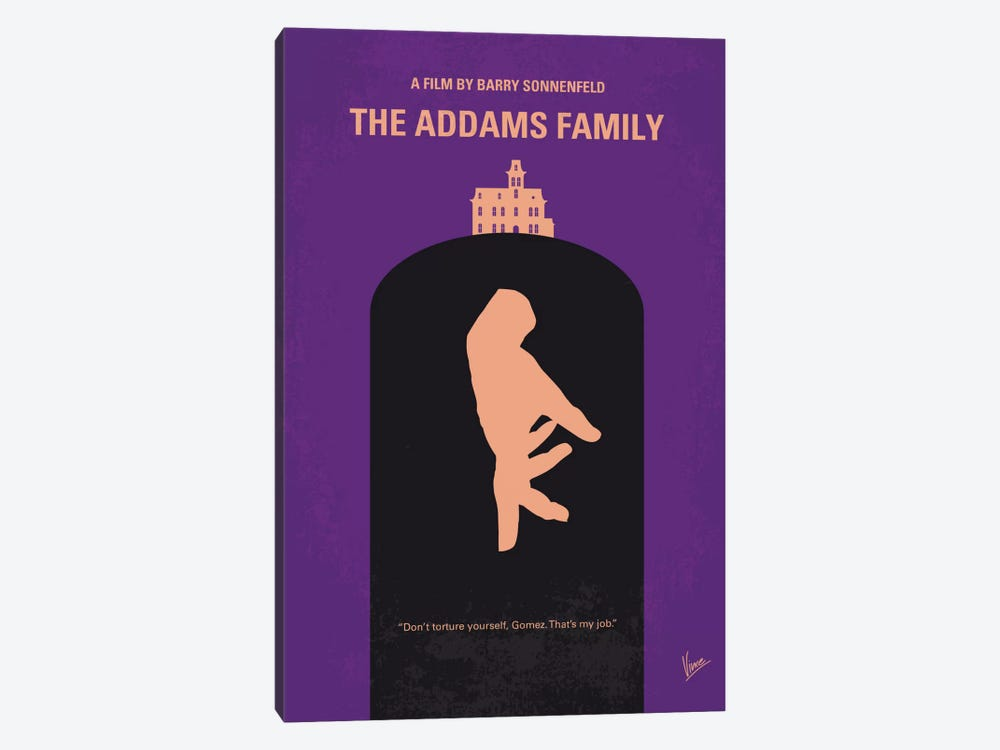 The Addams Family Minimal Movie Poster by Chungkong 1-piece Canvas Art