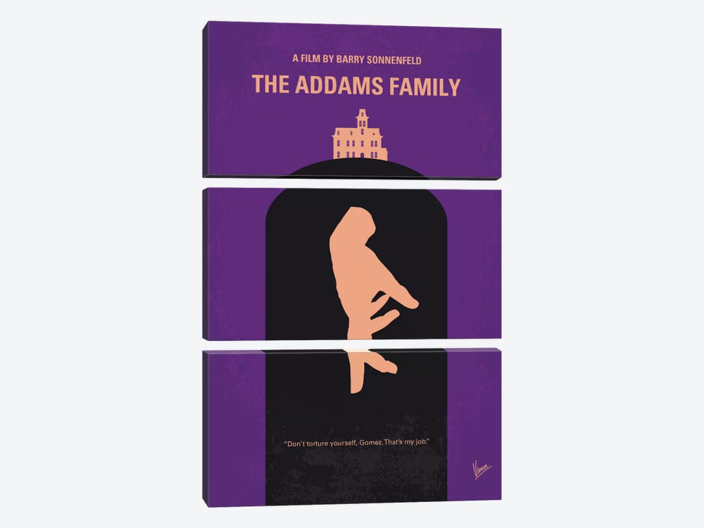 The Addams Family Minimal Movie Poster by Chungkong 3-piece Canvas Wall Art