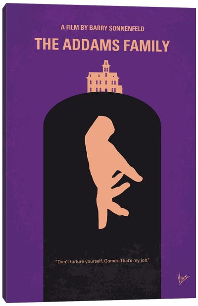 The Addams Family Minimal Movie Poster Canvas Art Print