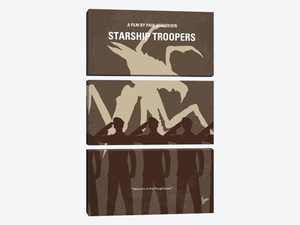 Starship Troopers Minimal Movie Poster by Chungkong 3-piece Canvas Art Print