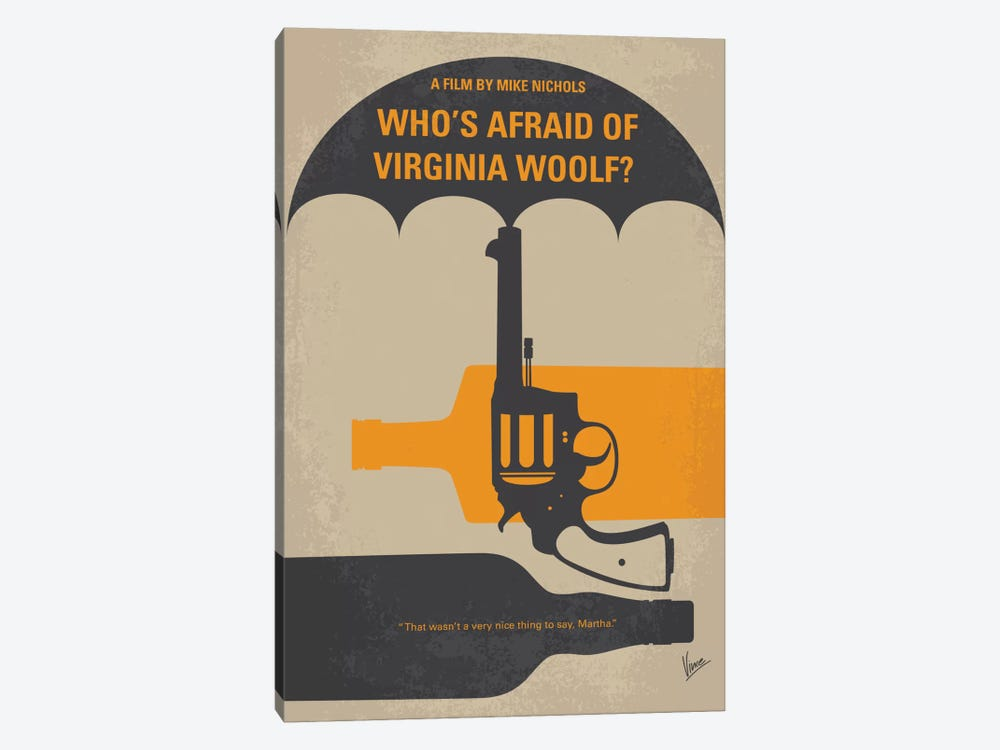 Who's Afraid Of Virginia Woolf? Minimal Movie Poster by Chungkong 1-piece Canvas Print