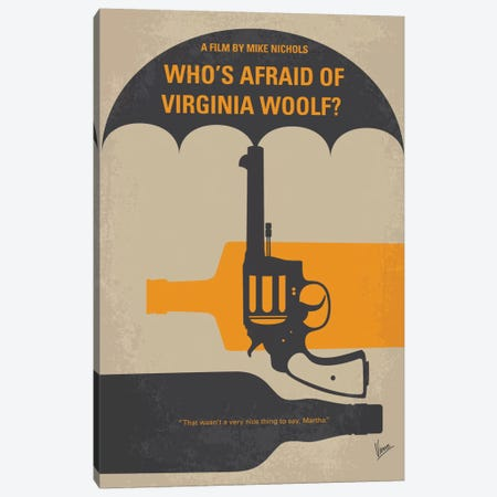 Who's Afraid Of Virginia Woolf? Minimal Movie Poster Canvas Print #CKG434} by Chungkong Art Print