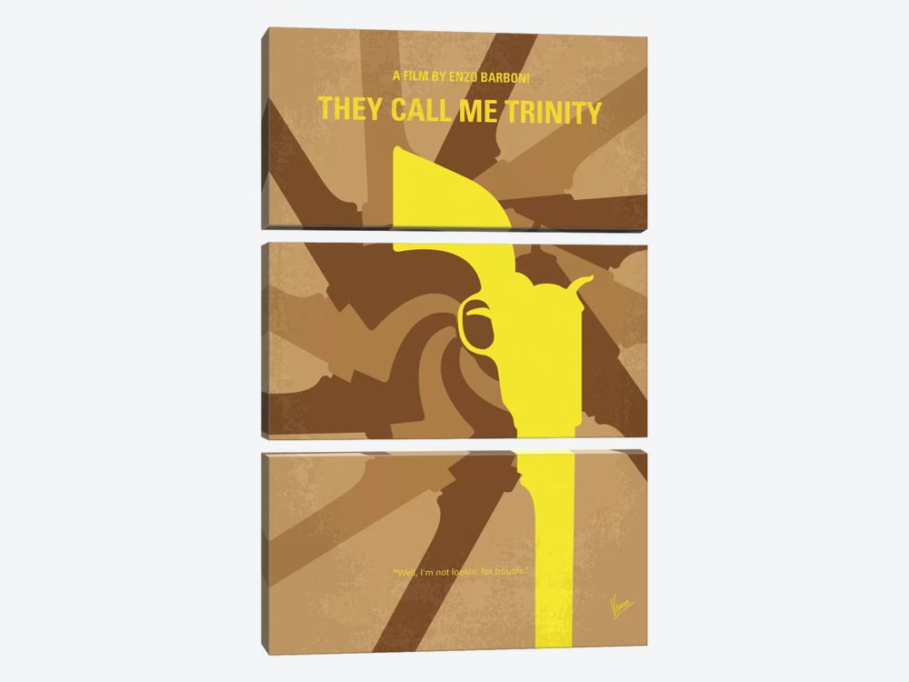 They Call Me Trinity Minimal Movie Poster by Chungkong 3-piece Canvas Wall Art