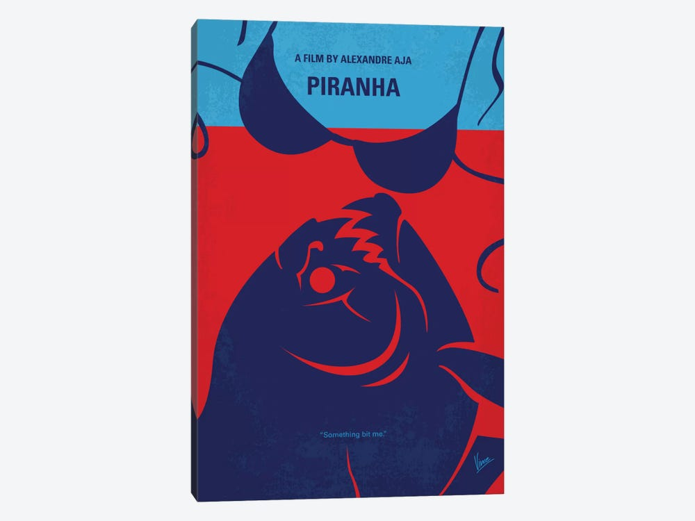 Piranha Minimal Movie Poster 1-piece Canvas Art Print