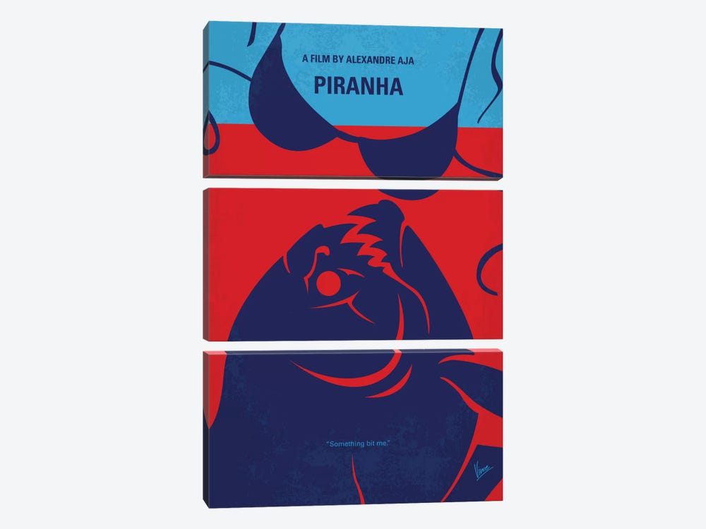Piranha Minimal Movie Poster 3-piece Canvas Art Print