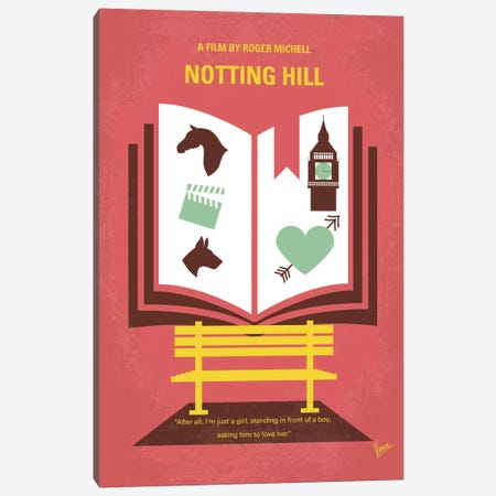 Notting Hill Minimal Movie Poster Canvas Print #CKG442} by Chungkong Canvas Print