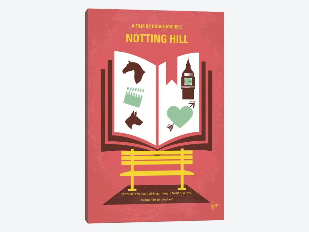 Notting Hill Minimal Movie Poster by Chungkong 1-piece Canvas Wall Art