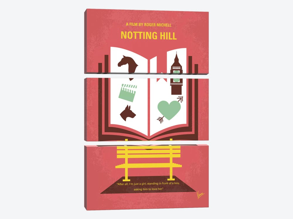 Notting Hill Minimal Movie Poster by Chungkong 3-piece Canvas Artwork