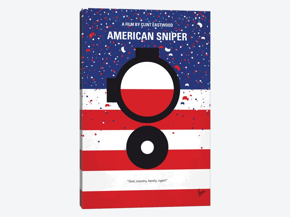 American Sniper Minimal Movie Poster by Chungkong 1-piece Canvas Art Print
