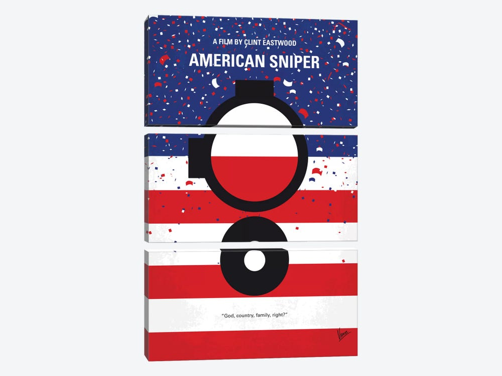 American Sniper Minimal Movie Poster by Chungkong 3-piece Art Print