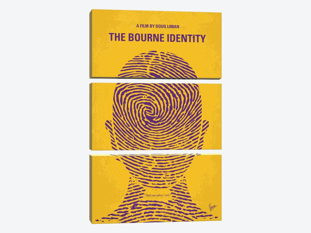 The Bourne Identity Minimal Movie Poster 3-piece Canvas Print