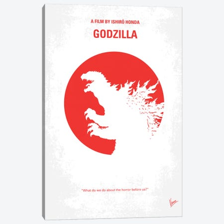 Godzilla (1954) Minimal Movie Poster Canvas Print #CKG44} by Chungkong Canvas Wall Art