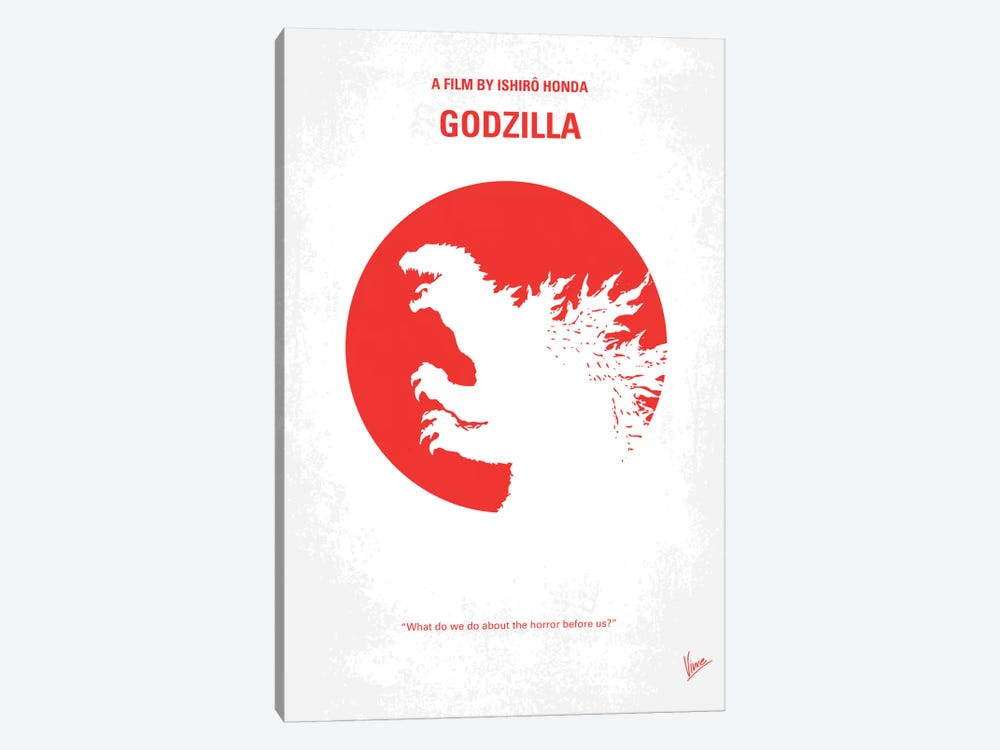 Godzilla (1954) Minimal Movie Poster by Chungkong 1-piece Canvas Art Print