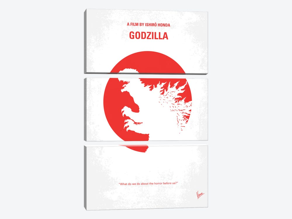Godzilla (1954) Minimal Movie Poster by Chungkong 3-piece Canvas Art Print