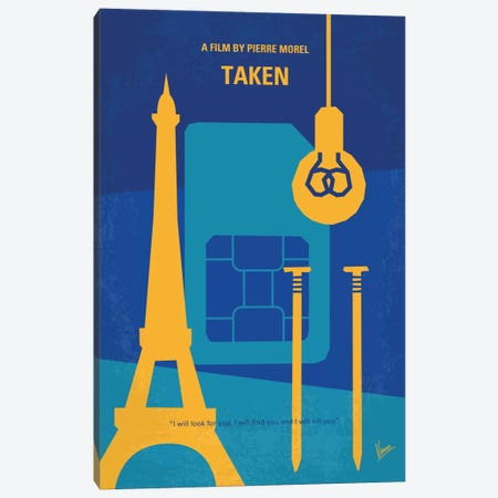 Taken Minimal Movie Poster Canvas Print #CKG450} by Chungkong Canvas Artwork