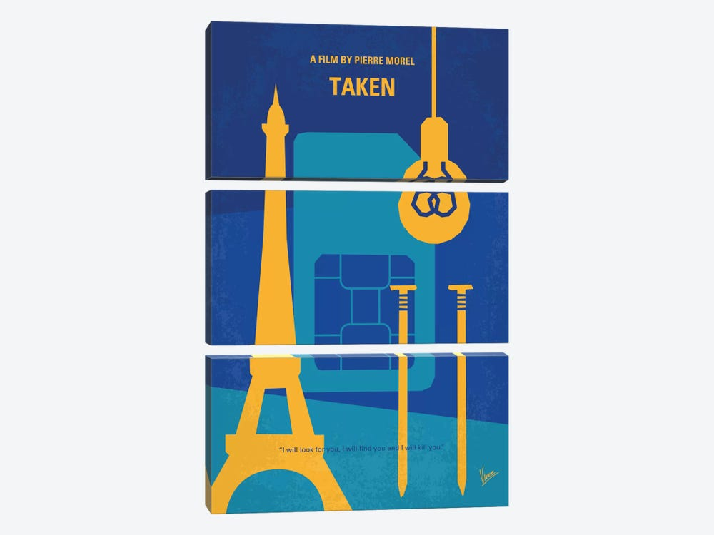 Taken Minimal Movie Poster by Chungkong 3-piece Canvas Art Print
