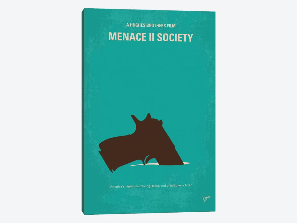 Menace II Society Minimal Movie Poster by Chungkong 1-piece Canvas Wall Art