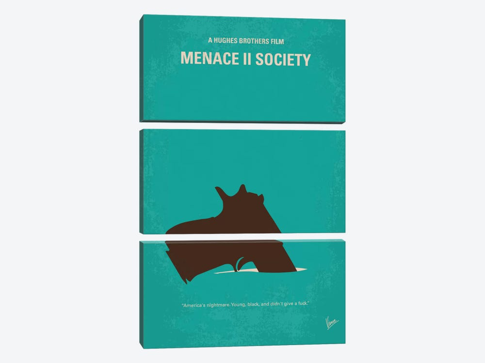 Menace II Society Minimal Movie Poster by Chungkong 3-piece Canvas Art