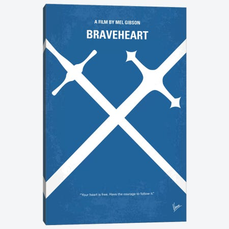 Braveheart Minimal Movie Poster Canvas Print #CKG456} by Chungkong Art Print