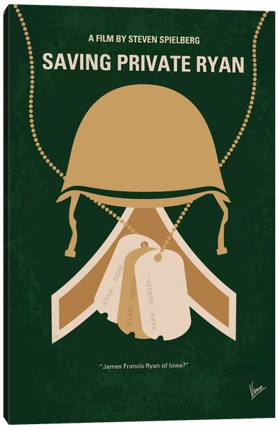Saving Private Ryan Minimal Movie Poster Canvas Art Print