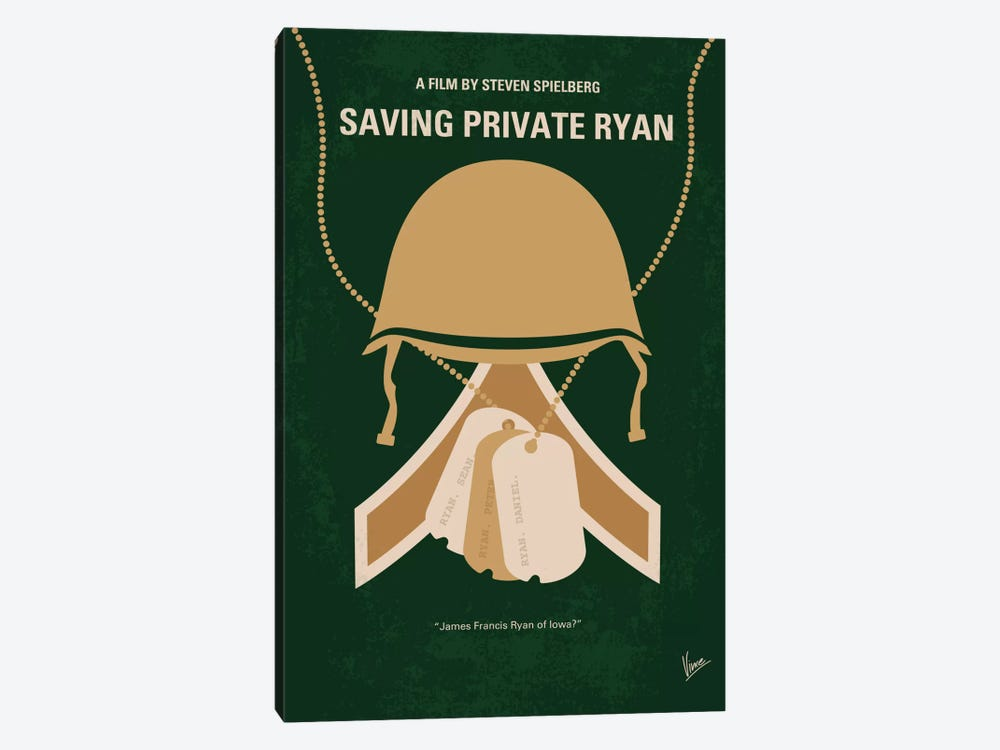 Saving Private Ryan Minimal Movie Poster 1-piece Canvas Wall Art