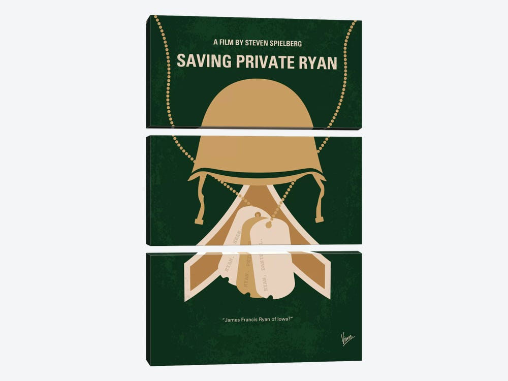 Saving Private Ryan Minimal Movie Poster 3-piece Canvas Wall Art